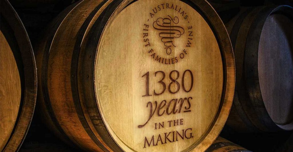 Wine Barrel Emblazoned With Australia's First Families Of Wine 1380 Years In The Making