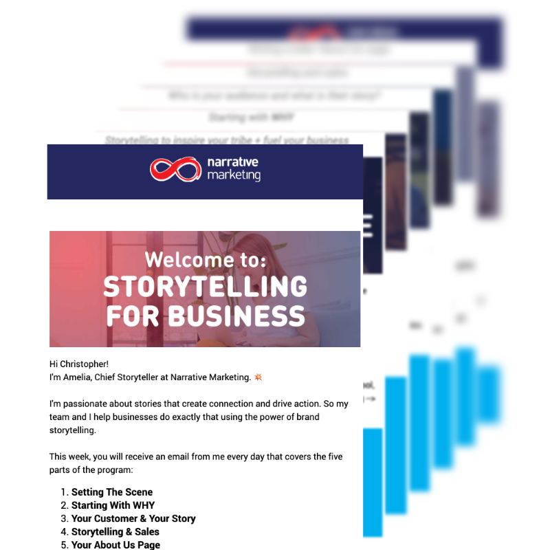 Sequence of seven emails for Storytelling For Business
